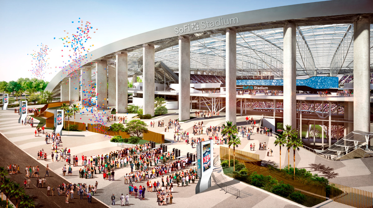"""A rendering of the entry to the stadium. The words """"SoFI Stadium"""" are visible on an arch over the entrance."""