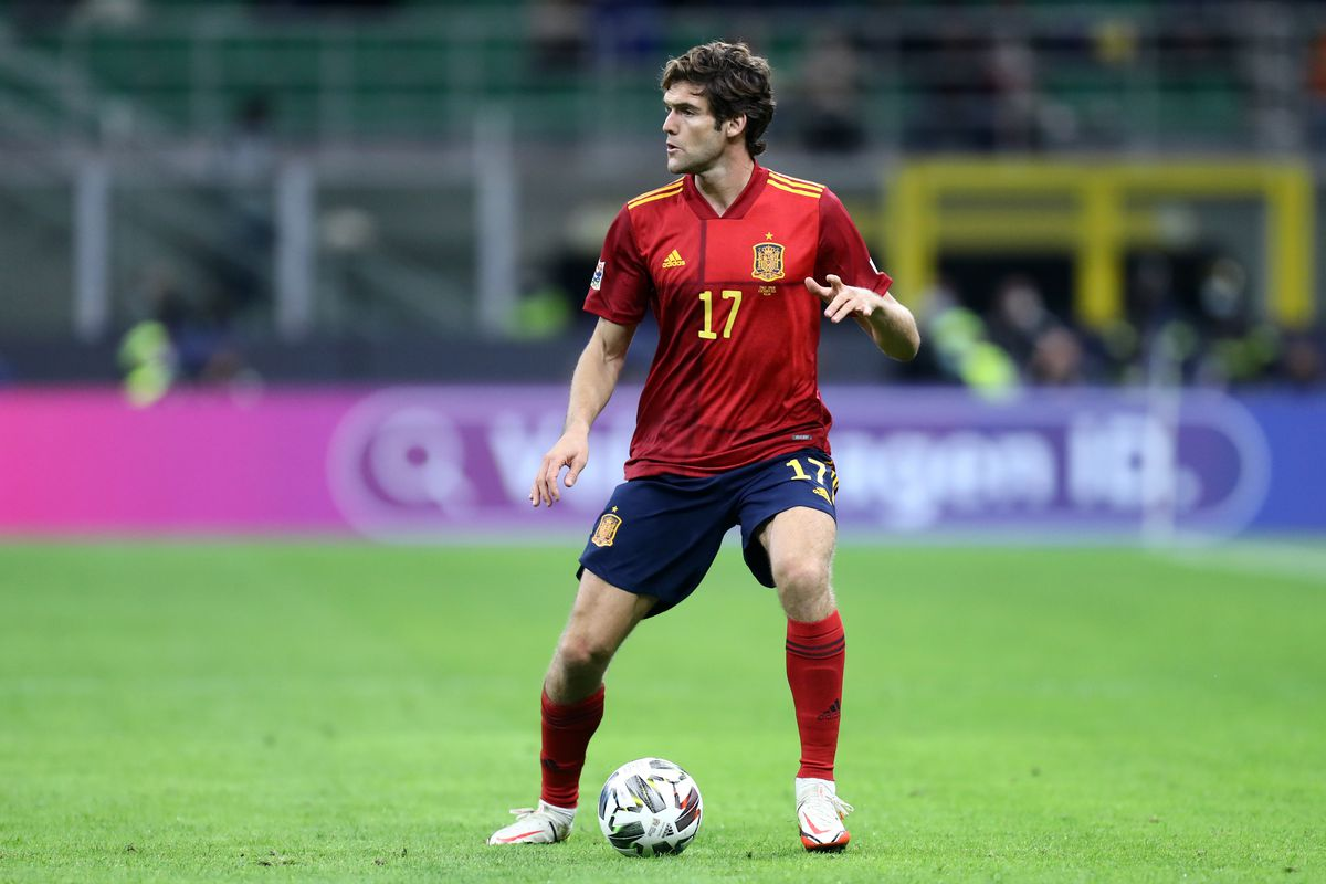 Marcos Alonso of Spain in action during the Uefa Nations...