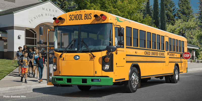 BlueBird electric school bus.