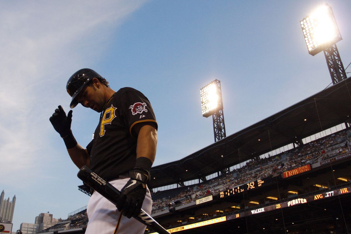 PITTSBURGH, PA - AUGUST 23:  Garrett Jones #46 of the Pittsburgh Pirates warms up while on deck against the Milwaukee Brewers during the game on August 23, 2011 at PNC Park in Pittsburgh, Pennsylvania.  (Photo by Justin K. Aller/Getty Images)