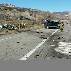 Two people died Friday, Nov. 20, 2015, after two vehicles collided head on near Helper on U.S. 6, according to the Utah Highway Patrol.