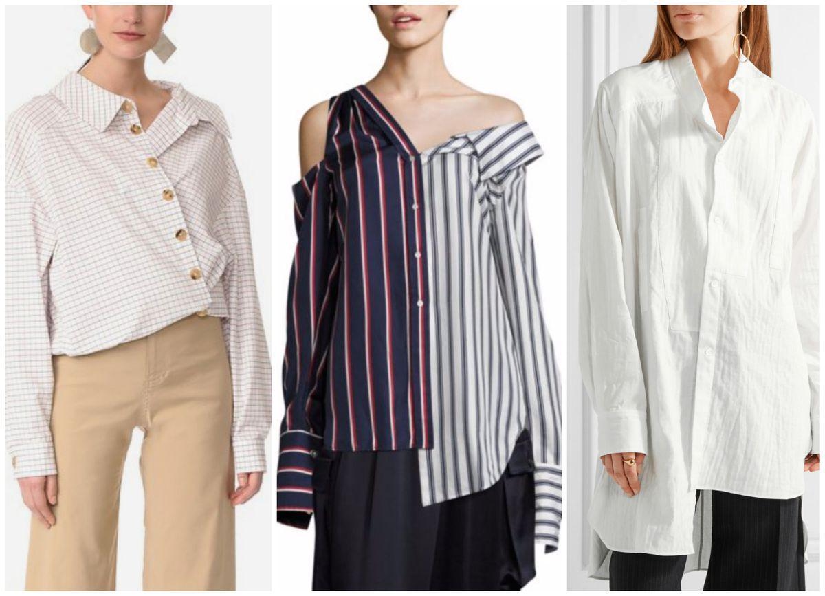 9acdf1db AWAKE Japanese Wrap Shirt, $515; Monse Asymmetric Striped Top, $1,290;  Loewe Oversized Asymmetric Shirt, $890