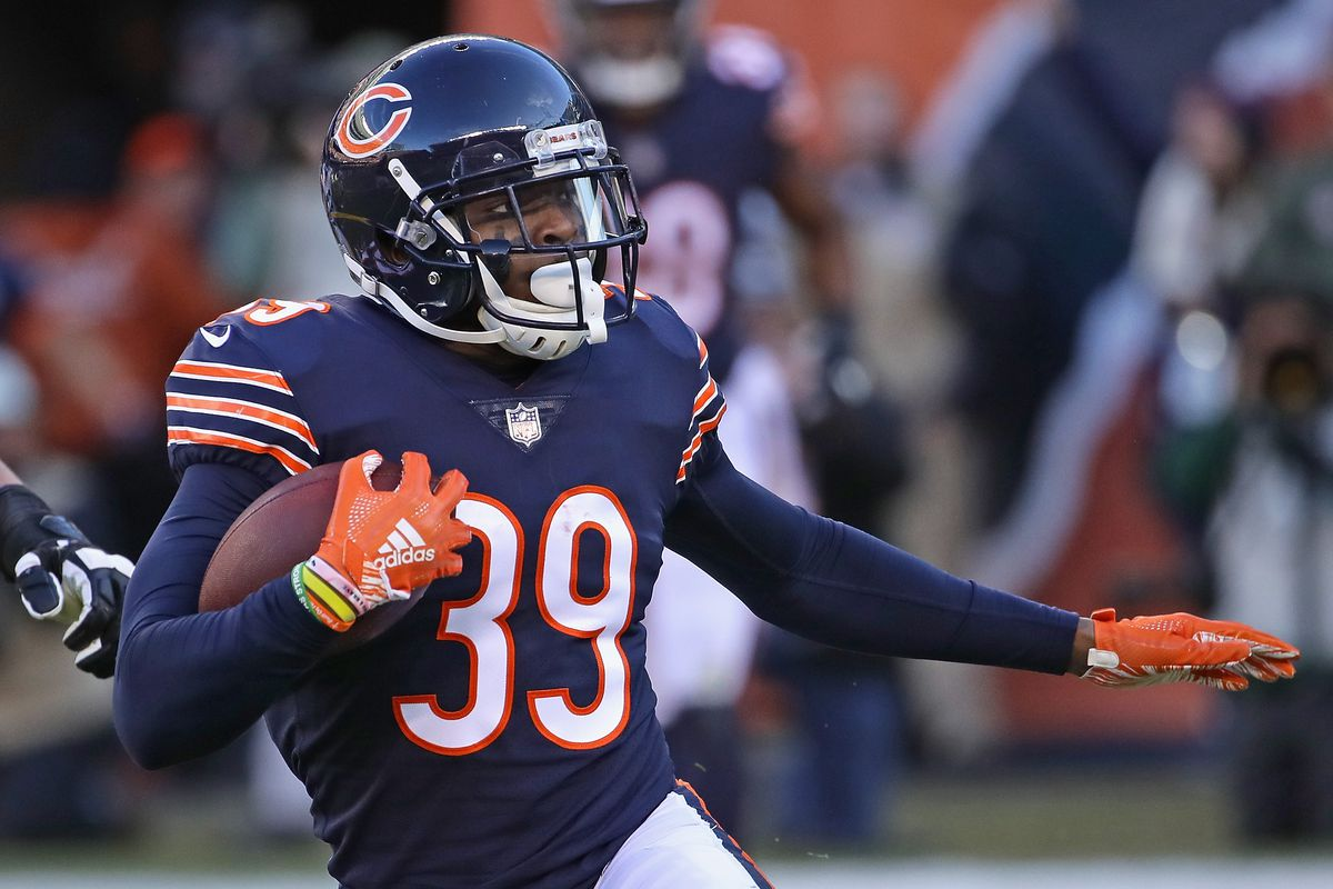 ab56c7980 Eddie Jackson  39 of the Chicago Bears returns an interception against the  Green Bay Packers at Soldier Field on December 16
