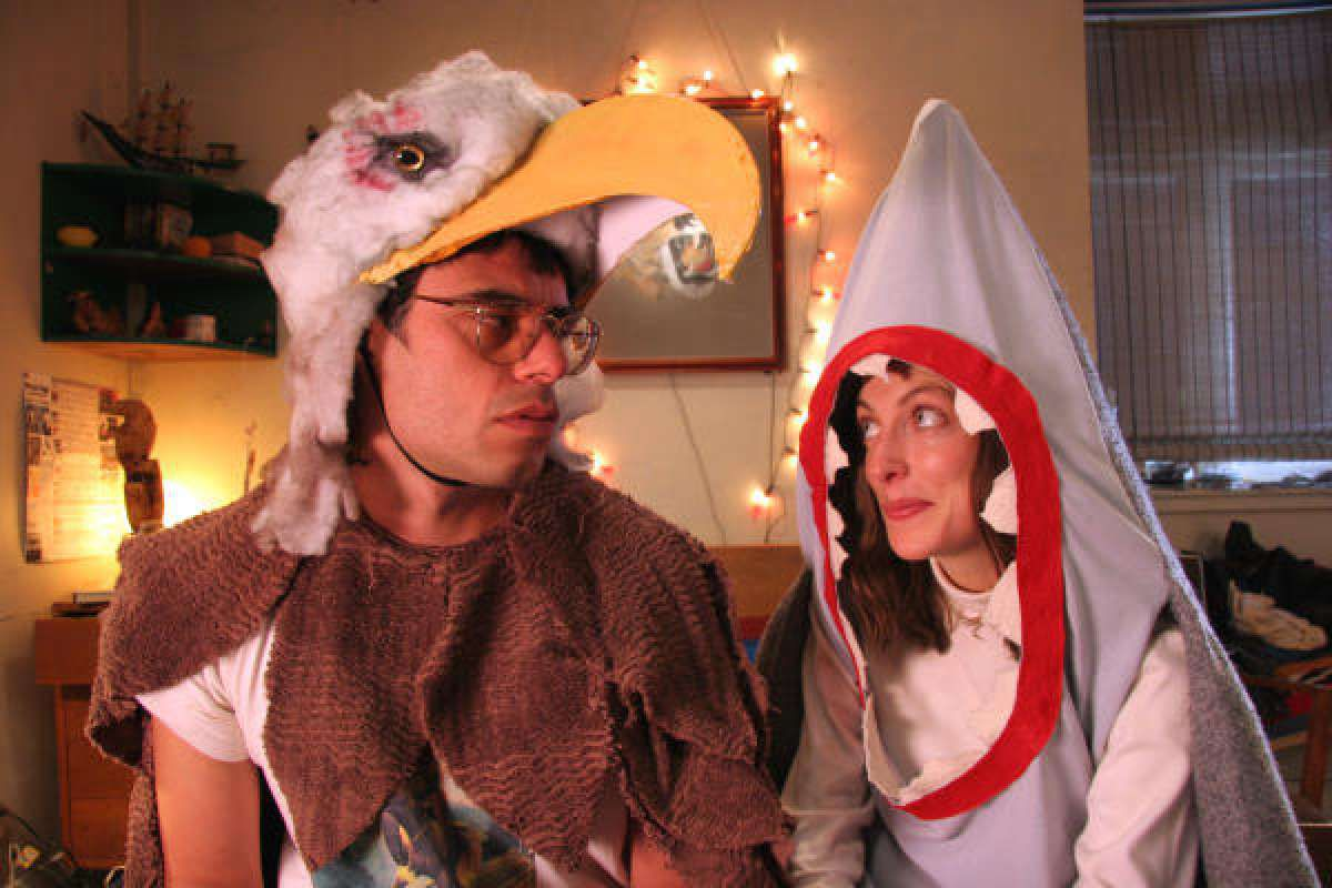 Jemaine Clement and Loren Horsley dressed in Eagle and Shark costumes in Eagle vs. Shark