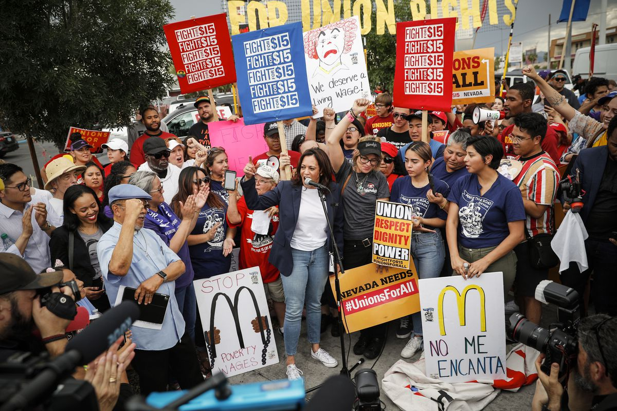 Democratic presidential candidate Sen. Kamala Harris (D-CA), speaks to protesters asking for higher minimum wage outside of McDonald's in in Las Vegas on June 14, 2019.