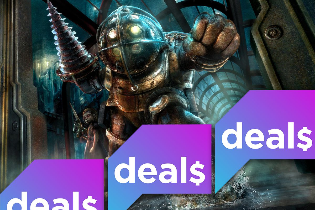 A screenshot of a Big Daddy from Bioshock overlaid with the polygon deals logo
