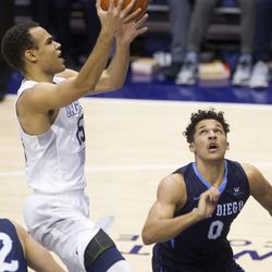 Brigham Young Cougars guard Jordan Chatman (25) lays the ball up in the second half of action at the Marriott Center in Provo Saturday, Feb. 20, 2016. BYU won 91-33.