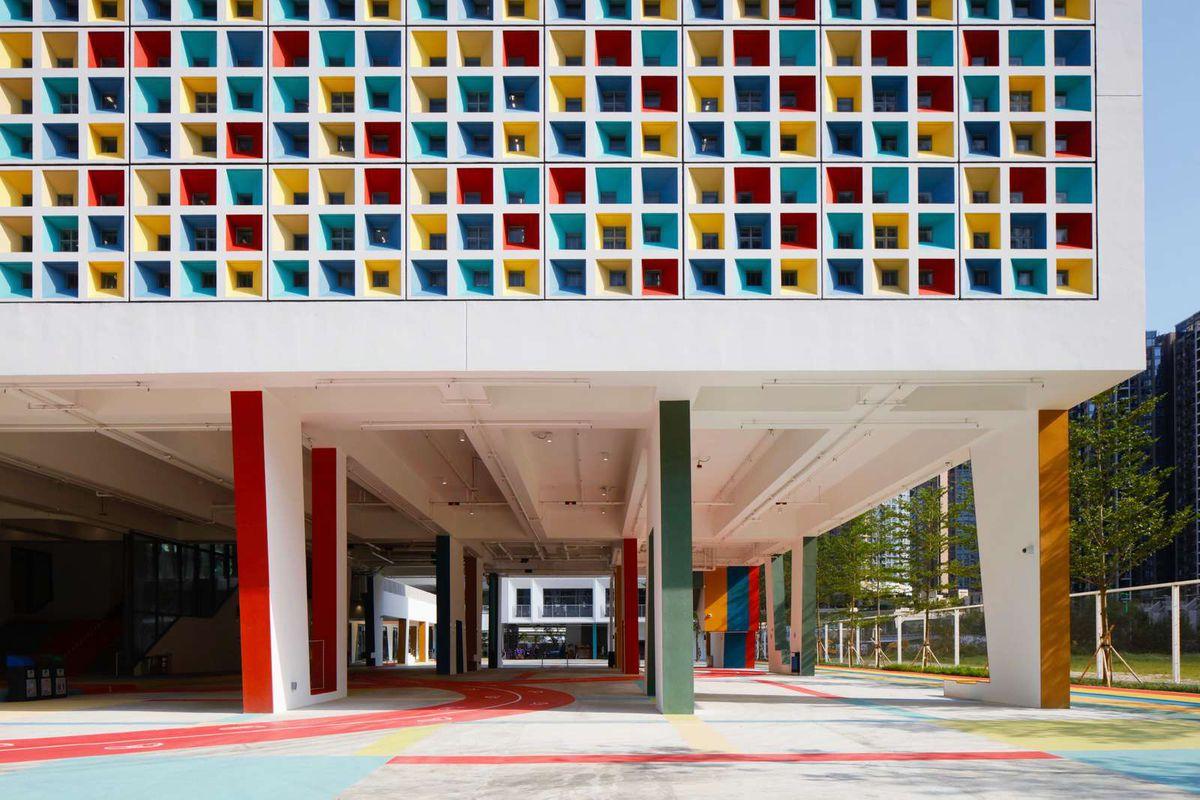 Multi-colored facade