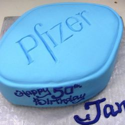 the funniest dessert in NYC is Ruthy's in Chelsea Market of a famous little blue pill, made for a 50th birthday