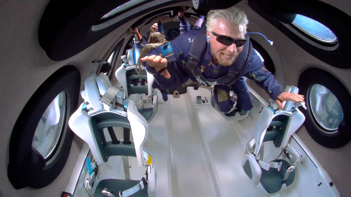 Richard Branson hovers weightlessly inside Virgin Galactic's VSS Unity space plane during its flight into space on Sunday, June 11, 2021.