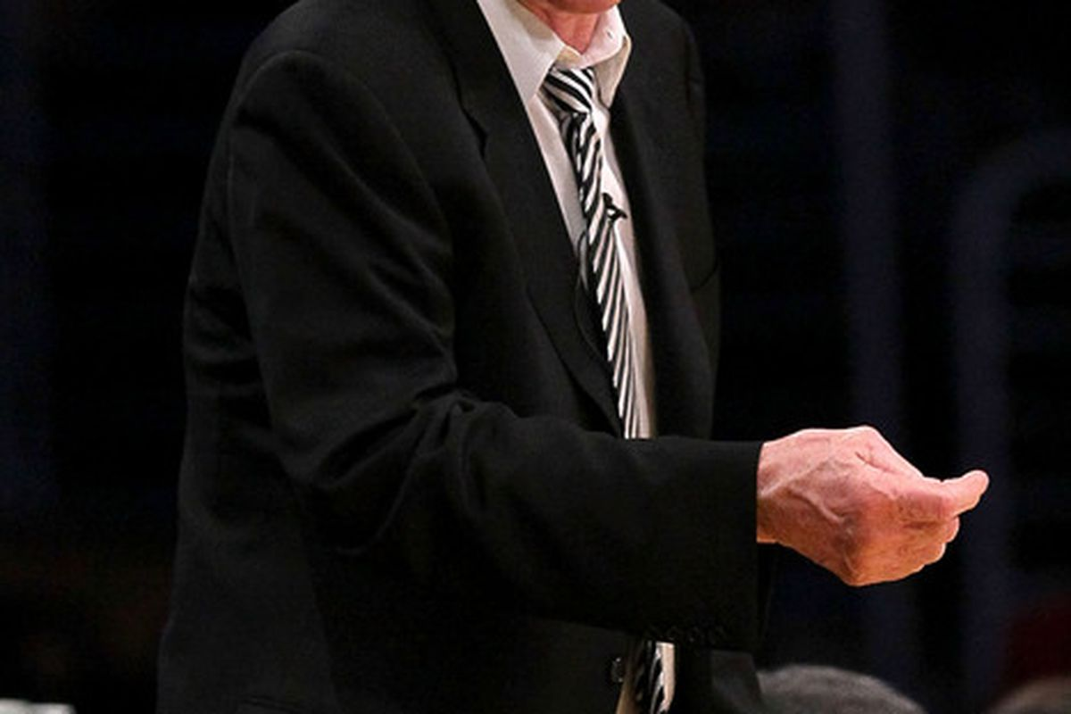 Why is Jerry Sloan mad?  He's been linked to the coaching position of teams that are the worst in their respective divisions.  (Photo by Stephen Dunn/Getty Images)