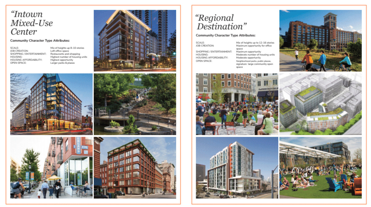 """Plans show images of """"intown mixed-use center"""" and """"regional destination"""" designs."""