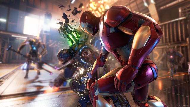 Iron Man punching a robot in Marvel's Avengers