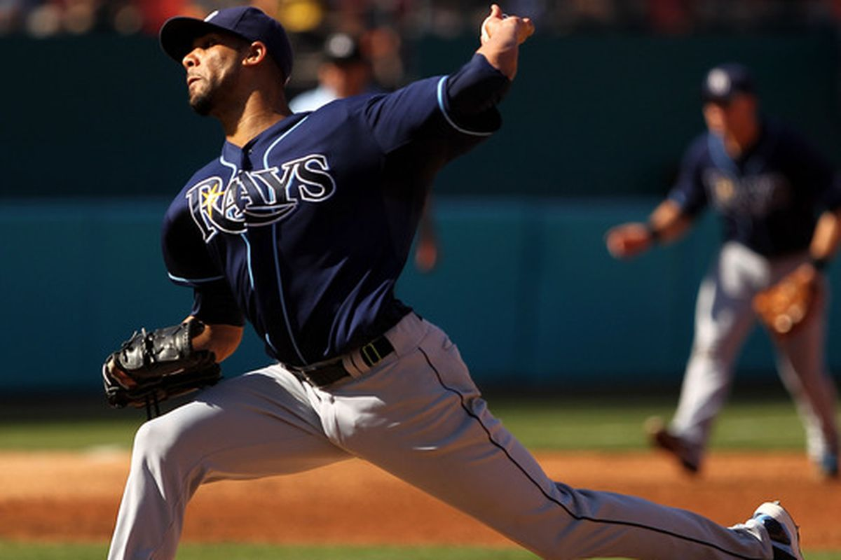 MIAMI GARDENS, FL - MAY 21: David Price #14 of the Tampa Bay Rays pitches during a game against the Florida Marlins at Sun Life Stadium on May 21, 2011 in Miami Gardens, Florida. (Photo by Mike Ehrmann/Getty Images)