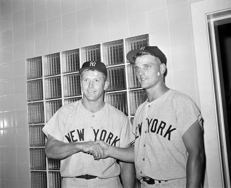 MIckey Mantle and Roger Maris pose in the Yankees locker room after both homered in a 1961 doubleheader against the Washington Senators.