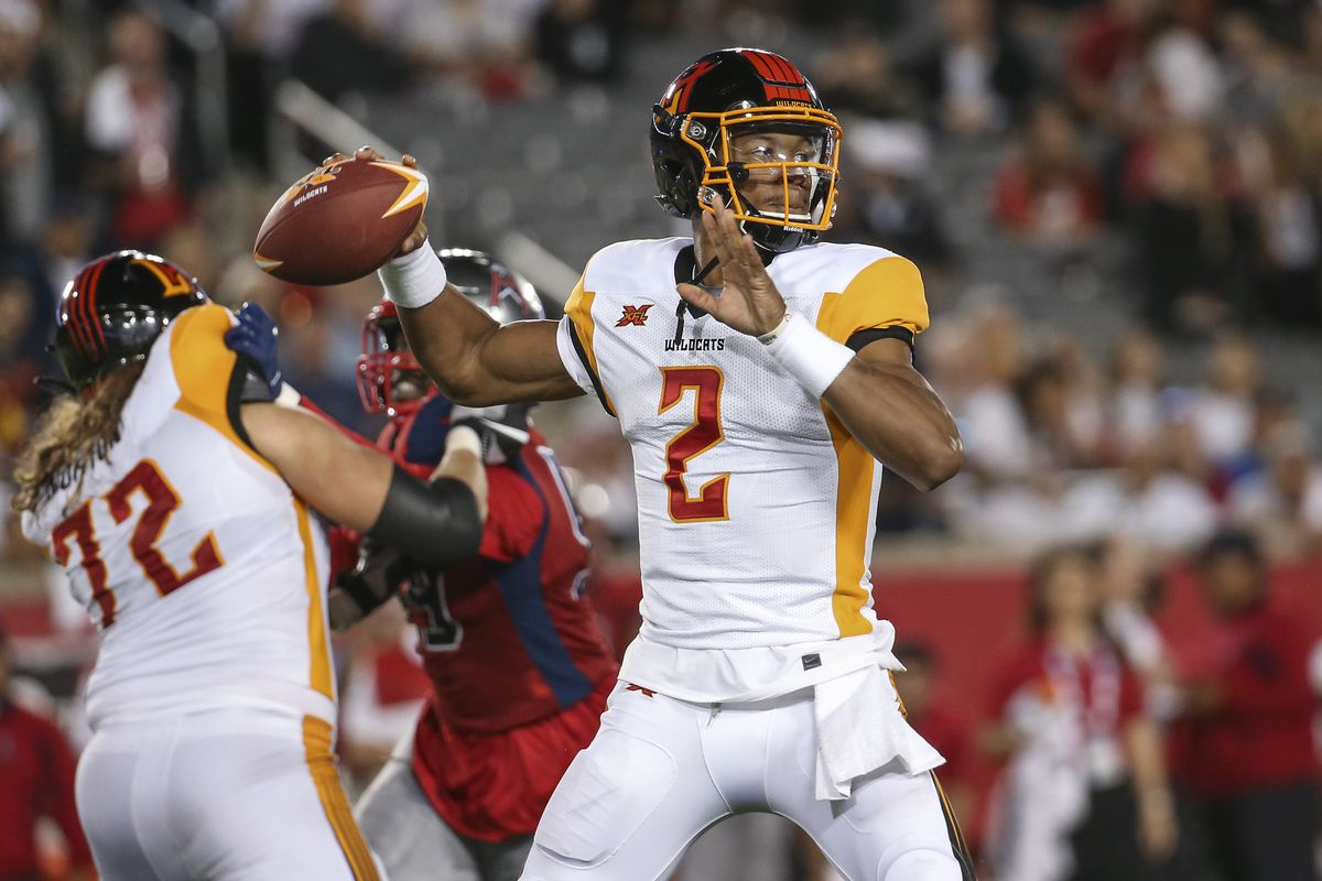 Los Angeles Wildcats quarterback Jalan McClendon looks to pass during the fourth quarter against the Houston Roughnecks in a XFL football game at TDECU Stadium.