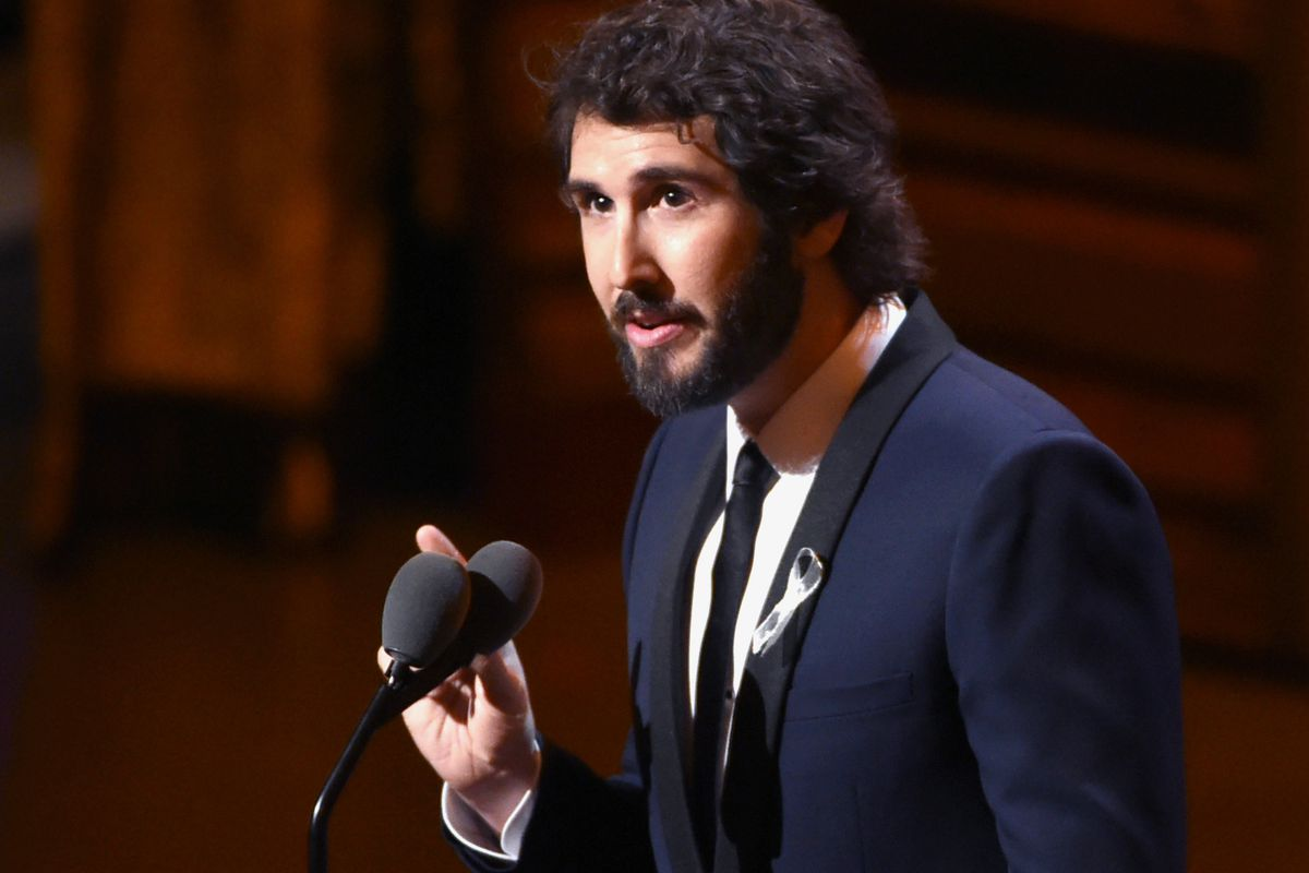 """Josh Groban wears a silver ribbon as he speaks at the Tony Awards at the Beacon Theatre in New York. One of the more out-of-left field options this fall will be """"Natasha, Pierre & the Great Comet of 1812,"""" a sung-through musical that dramatizes a 70-page melodrama at the center of Leo Tolstoy's """"War and Peace."""" Groban is screening old concerts on YouTube and interacting with fans amid the coronavirus pandemic."""
