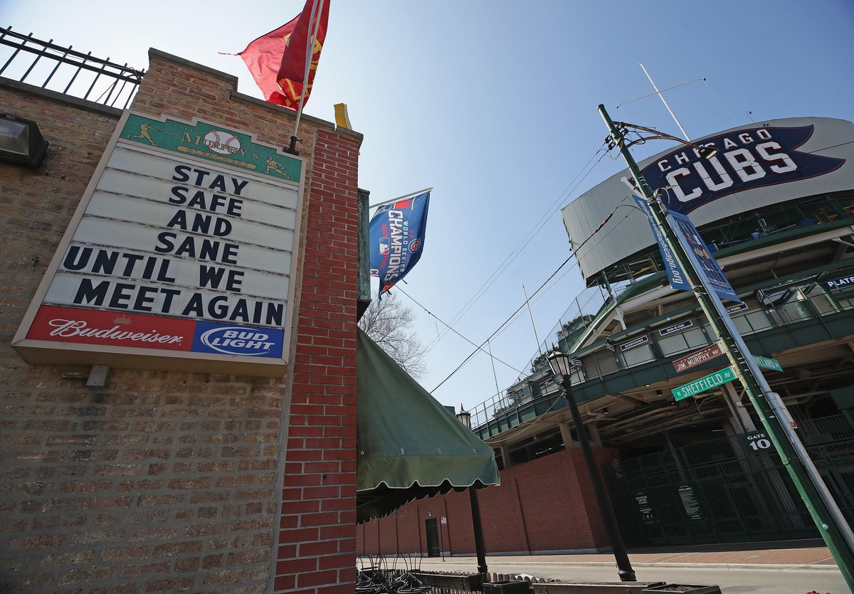 An image of an empty Wrigleyville on a mid-March day in Chicago.