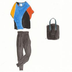 Anagram colo-block top, $196. Tucker cuffed pant, black, $324. Cap Bag, black nubuck, $886.