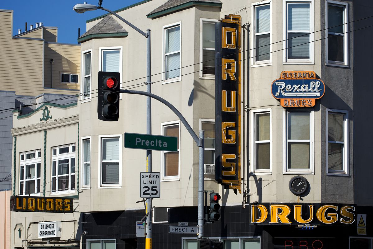 Facade of Rexell Drugs on Precita and Mission Streets.
