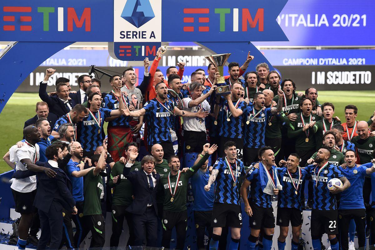 Players of FC Internazionale celebrate with the Scudetto...