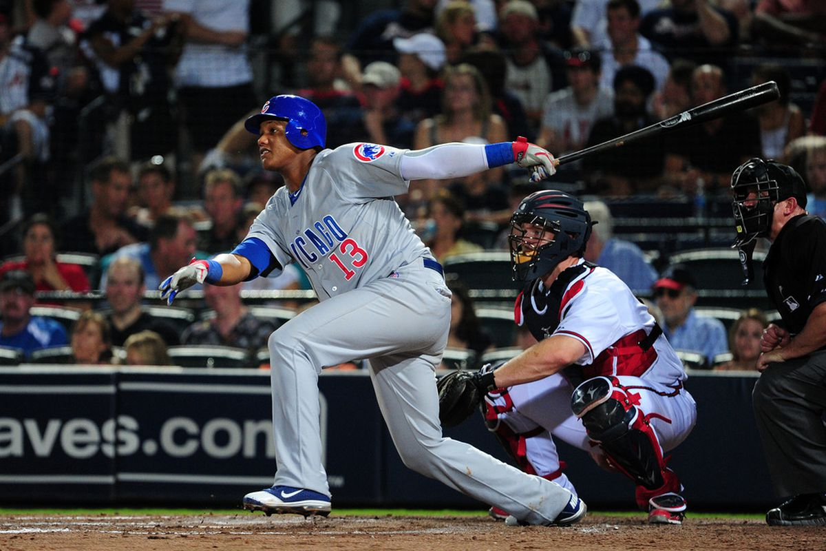 Starlin Castro of the Chicago Cubs hits against the Atlanta Braves at Turner Field on August 13, 2011 in Atlanta, Georgia. (Photo by Scott Cunningham/Getty Images)