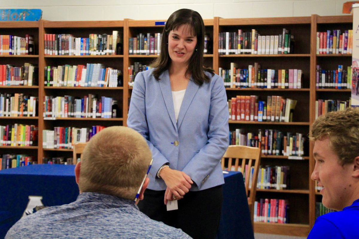 Education Commissioner Candice McQueen speaks with Arlington High School students during a school visit Tuesday that kicked off a statewide tour focused on student voices.