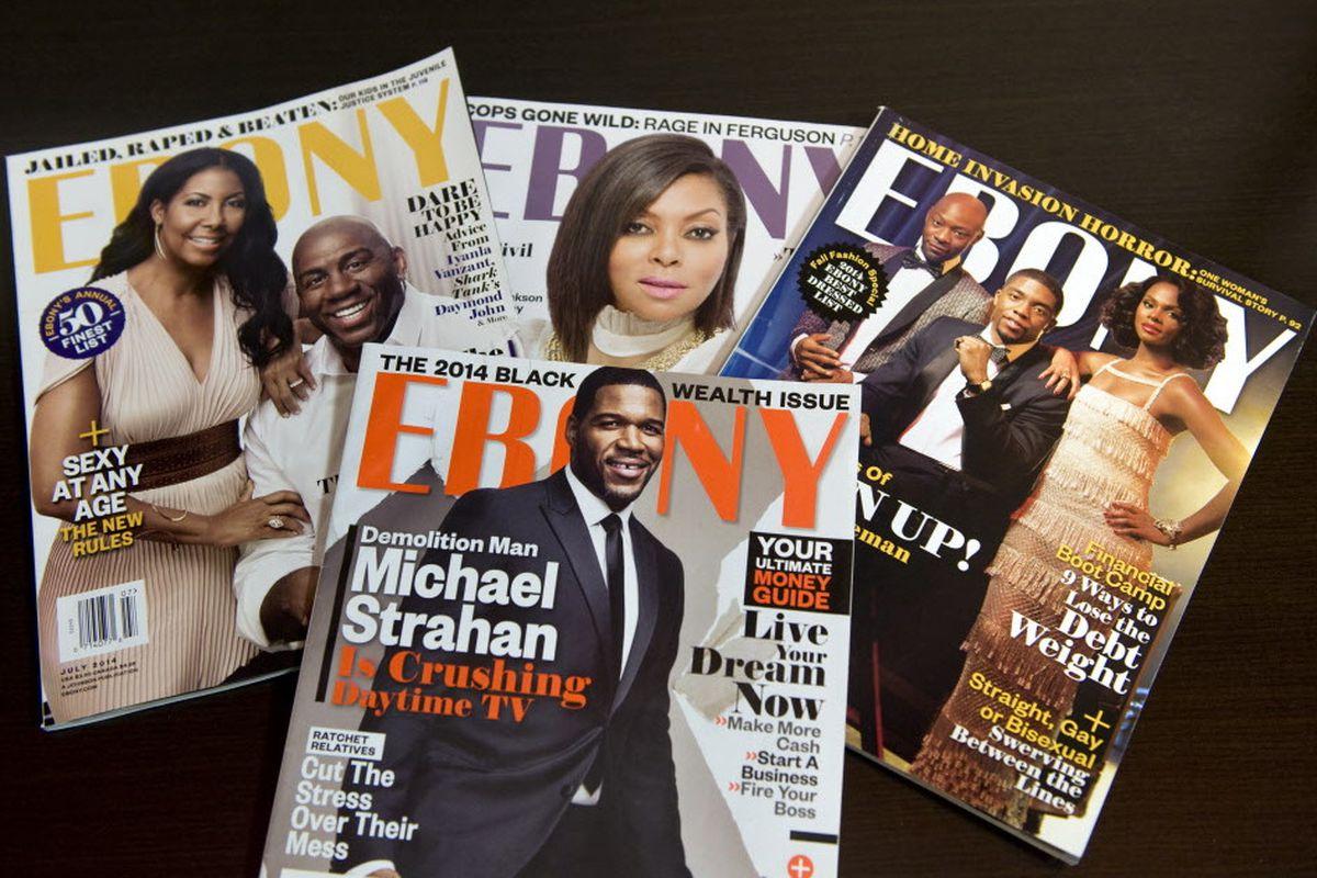 A display of Ebony magazines