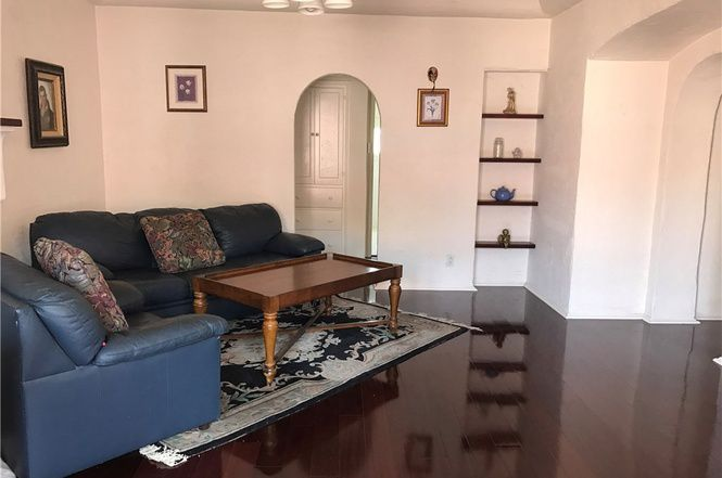 Living room with laminate floors