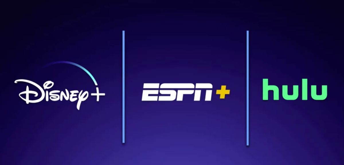 A side-by-side graphic of the Disney Plus, ESPN Plus, and Hulu logos