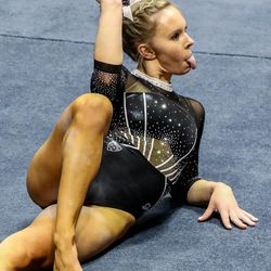 Utah's Maile O'Keefe performs on the floor as Utah and UCLA compete in a gymnastics meet at the Huntsman Center in Salt Lake City on Friday, Feb. 19, 2021.