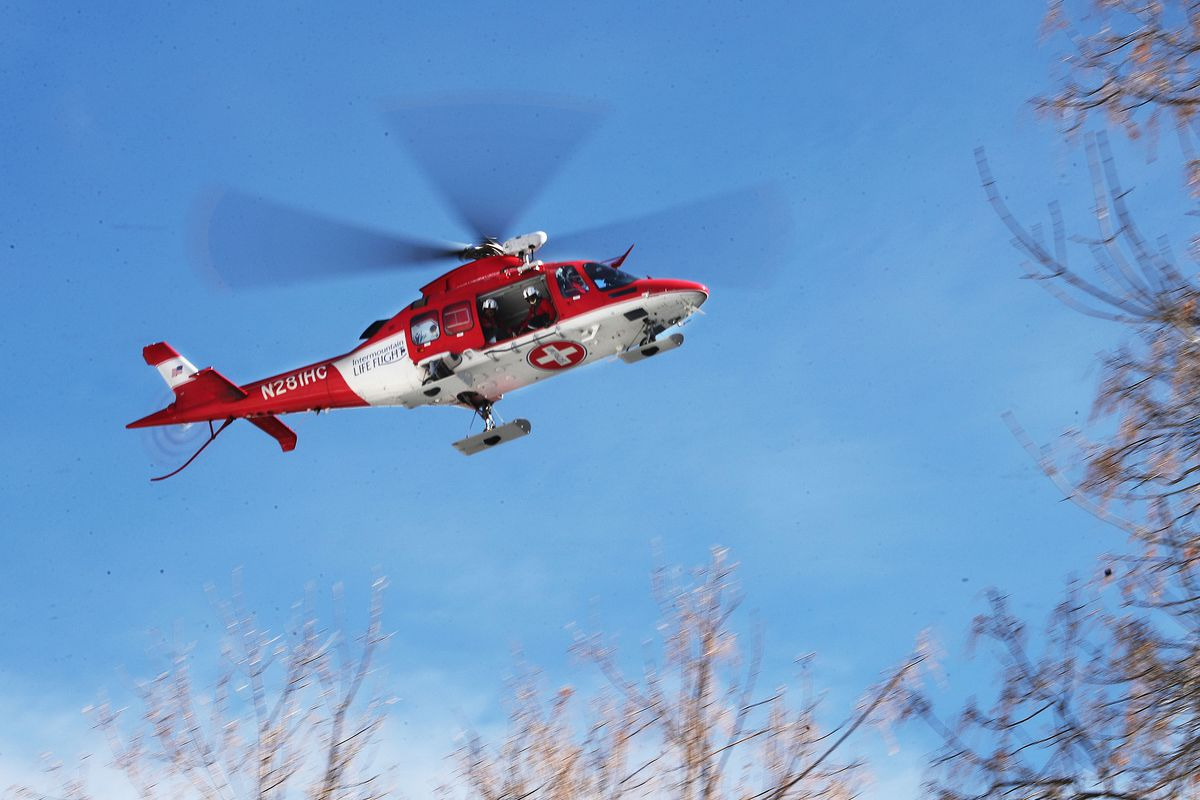 Life Flight looks for a landing place as Unified police respond to an avalanche scene in Millcreek Canyon in Salt Lake County on Saturday, Feb. 6, 2021.