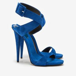 """Just imagine these babies clicking into one of the rooftop cabanas at the BOKX. Giuseppe Zanotti Ankle Wrap Suede Sandal, $695 at <a href=""""http://www.intermixonline.com/product/giuseppe+zanotti+ankle+wrap+suede+sandal.do?sortby=ourPicks&CurrentCat=109565"""""""