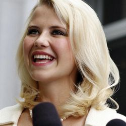 This May 25, 2011 file photo shows Elizabeth Smart talking to the media in front of the Frank E. Moss Federal Courthouse in Salt Lake City.