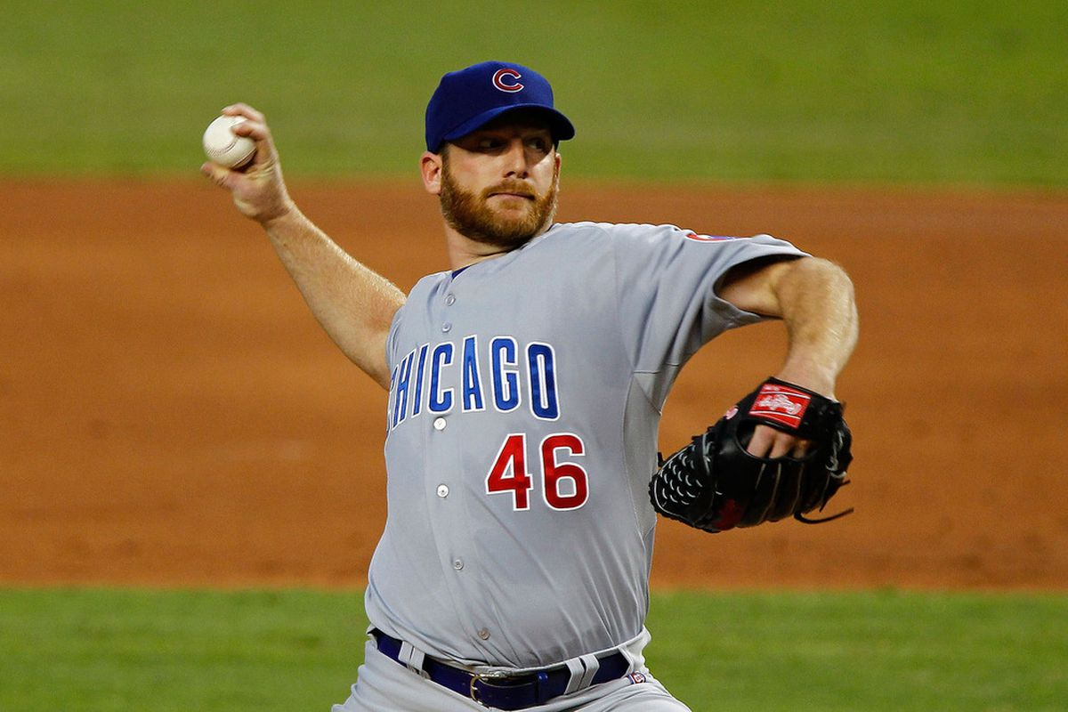 Ryan Dempster of the Chicago Cubs pitches against the Miami Marlins at Marlins Park in Miami, Florida.  (Photo by Mike Ehrmann/Getty Images)