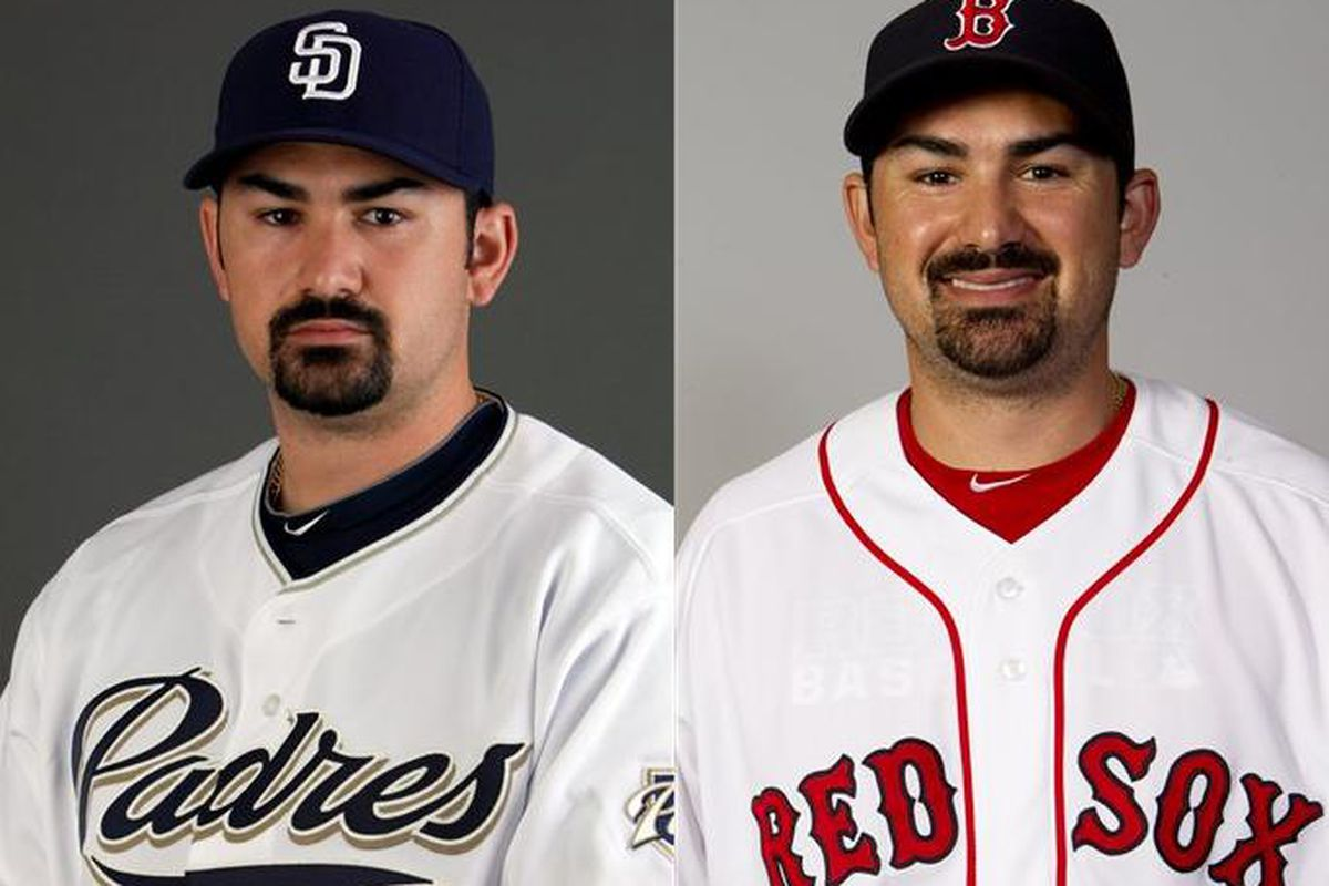 Mopey Padres First Basemen Adrian Gonzalez in San Diego looks different in Boston.