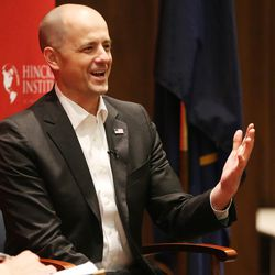 Independent presidential candidate Evan McMullin speaks to students at the University of Utah in Salt Lake City on Thursday, Sept. 1, 2016.