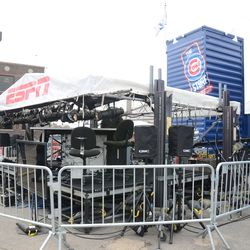 12:04 p.m. ESPN Baseball Tonight set up in front of the Cubs Store -