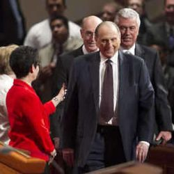 President Thomas S. Monson and his Counselors Henry B. Eyring and Dieter F. Uchtdorf walk onto the stand prior to the start of the morning session of 183 annual General Conference of the Church of Jesus Christ of Latter Day Saints Saturday, April 6, 2013 inside the Conference Center.