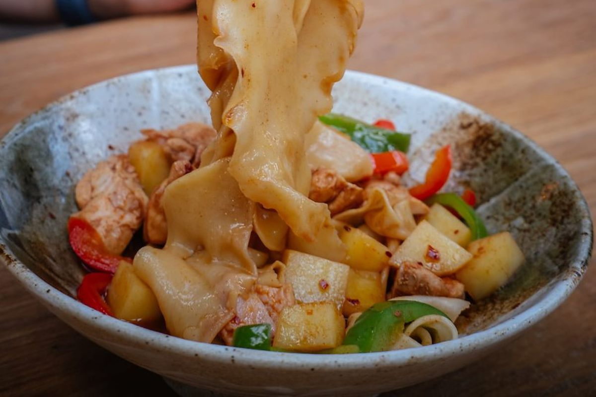 Hand-pulled belt noodles at Fen Noodles, opening in Spitalfields by the owners of Dumpling Shack