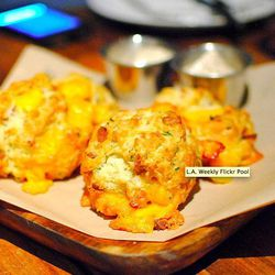 bacon cheddar buttermilk biscuits, maple butter, by DarinDines