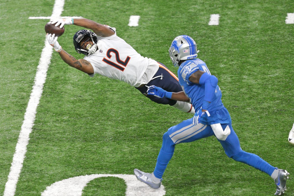 Chicago Bears wide receiver Allen Robinson (12) catches a pass during the second half of an NFL football game against the Detroit Lions in Detroit, Michigan USA, on Thusday, September 13, 2020