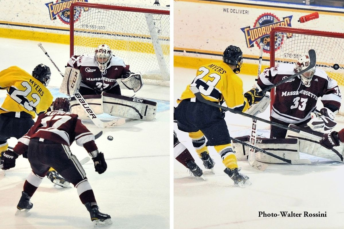 Josh Myers scored the winning goal for Merrimack as it defeated UMass at Lawler Arena for the seventh time in a row.