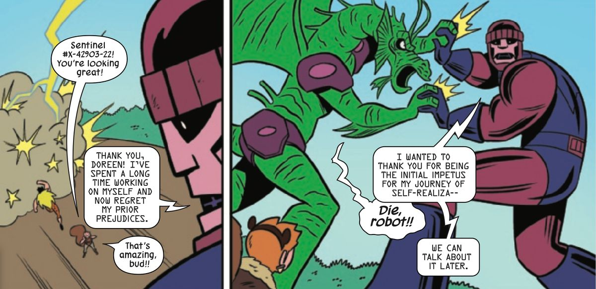 A reformed Sentinel robot battles Fin Fang Foom in The Unbeatable Squirrel Girl #49, Marvel Comics (2019).