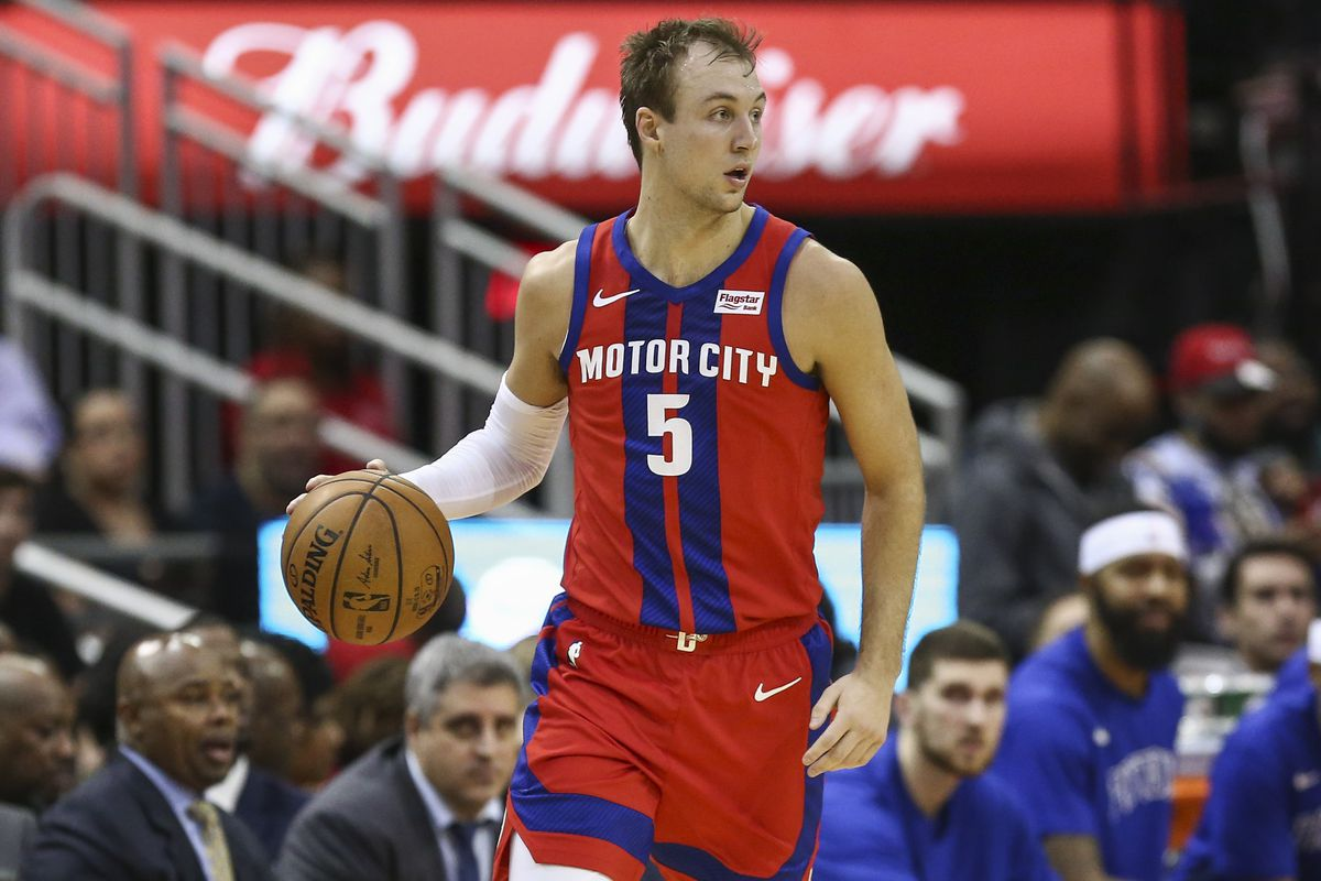 Detroit Pistons guard Luke Kennard dribbles the ball during the second quarter against the Houston Rockets at Toyota Center.