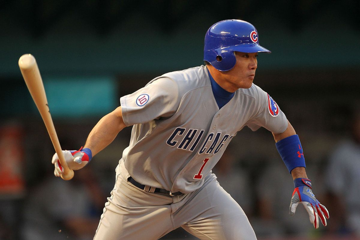 Kosuke Fukudome of the Chicago Cubs hits during a game against the Florida Marlins at Sun Life Stadium on May 18, 2011 in Miami Gardens, Florida.  (Photo by Mike Ehrmann/Getty Images)