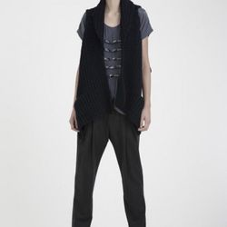 M. Patmos chunky vest, $150; hand-beaded tee, $100. (The pants won't be part of the sale, but there will be similar vintage pieces available for $30.)