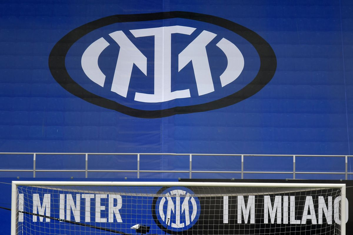 FC Internazionale new logo is seen on the stands prior to...