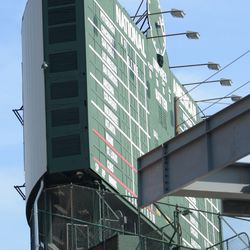 A mostly unblocked view of the scoreboard from Waveland -