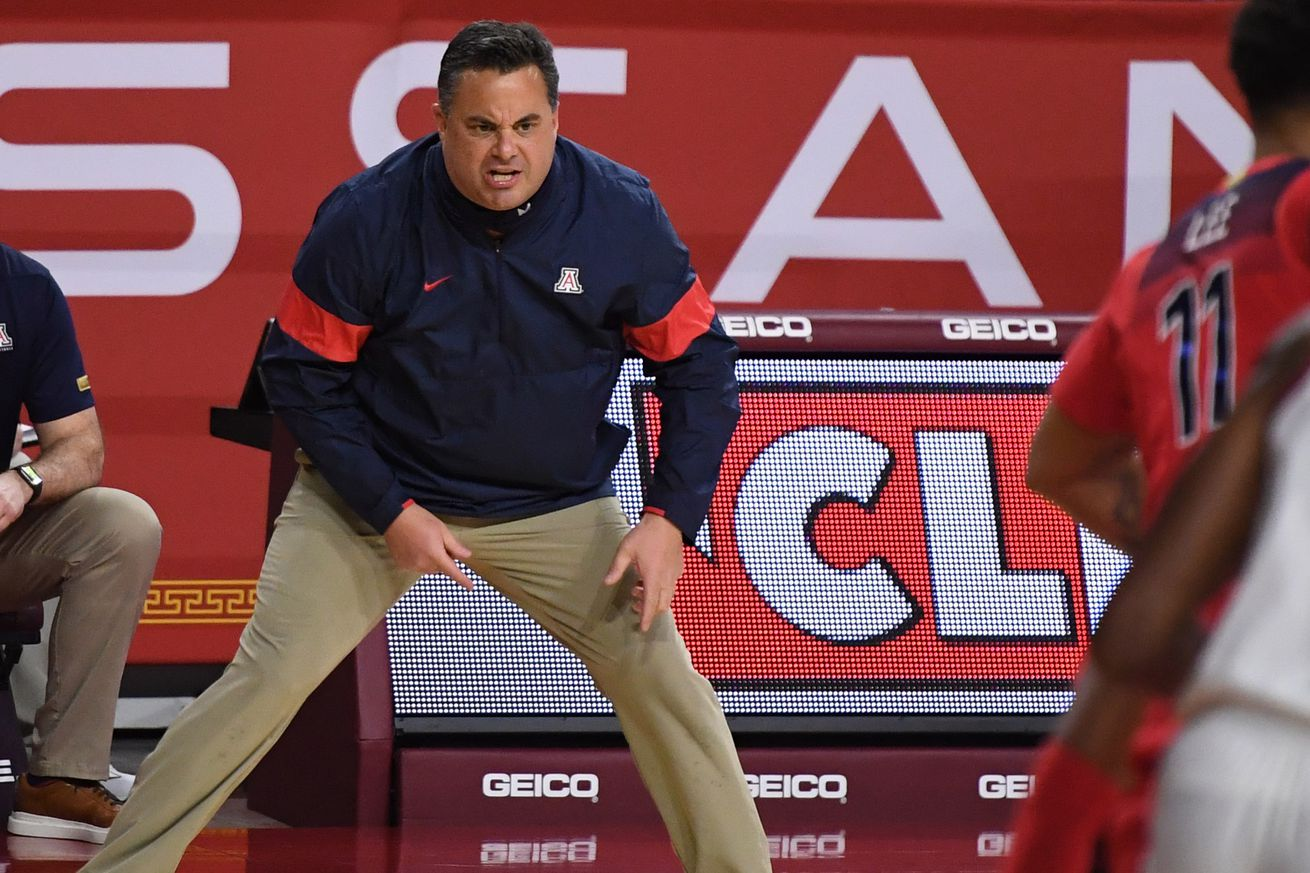 Arizona Wildcats defeat the USC Trojans 81-72 during a NCAA basketball game